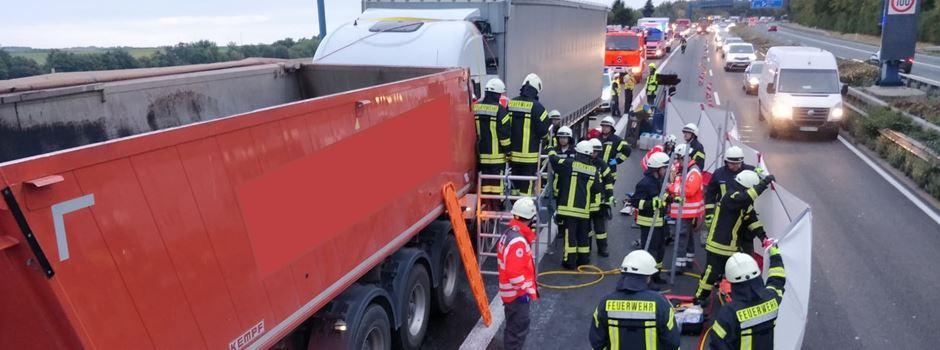 Unfall mit zwei Lkw auf der A63