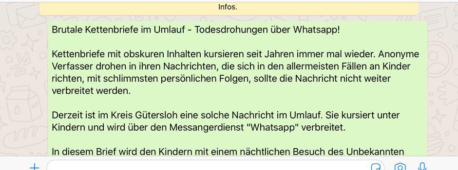 Brutale Kettenbriefe im Umlauf - Todesdrohungen über Whatsapp