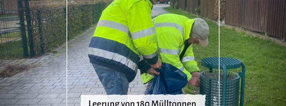 Leerung von 180 Mülltonnen im Gemeindegebiet