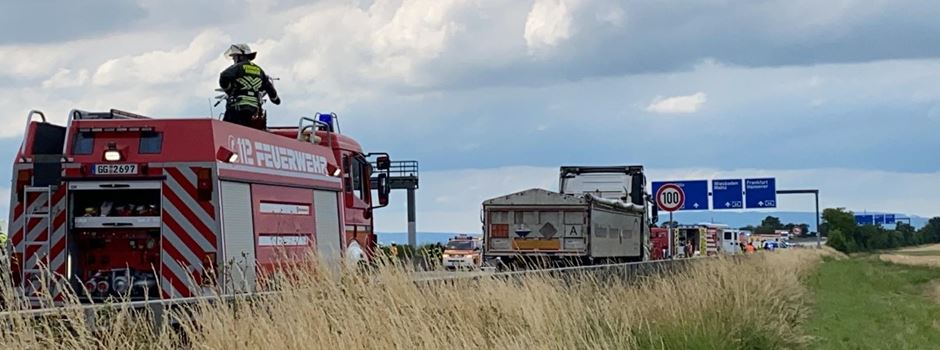 Lkw brennt: A3 bei Wiesbaden vollgesperrt