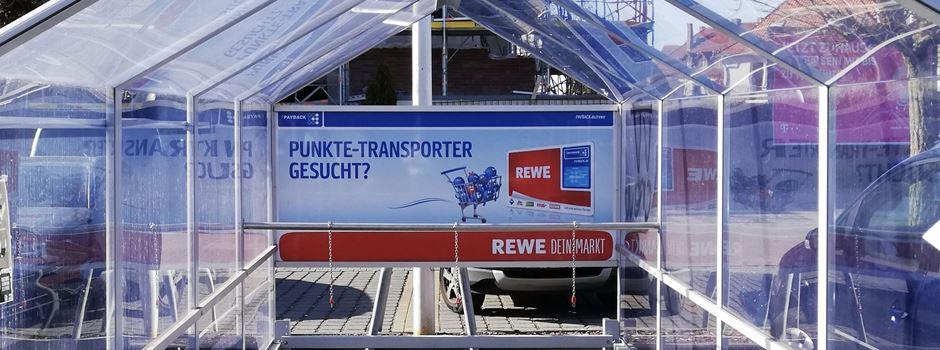 Anzeige: REWE nur noch mit Einkaufswagen betreten