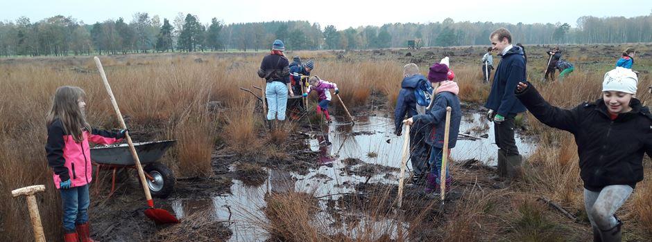 Matschen für den Klimaschutz: Schüler schaufeln im Pietzmoor Dämme auf