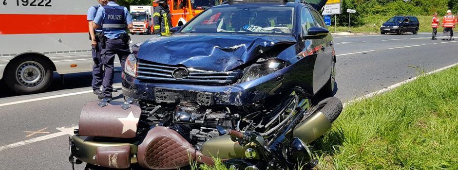 Unfall auf L 401: Motorradfahrerin schwer verletzt