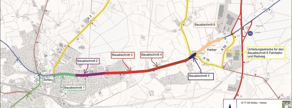 Bau an B 71: Umleitungen