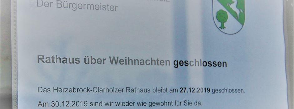 Rathaus Herzebrock-Clarholz am 27. Dezember geschlossen