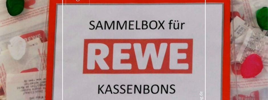 Anzeige: Kassenbons der REWE Anton Wiebe Vereins-Aktion werden eingesammelt