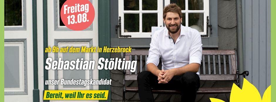 Wahlwerbung: Der Grüne Bundestagskandidat Sebastian Stölting am Freitag auf dem Markt in Herzebrock