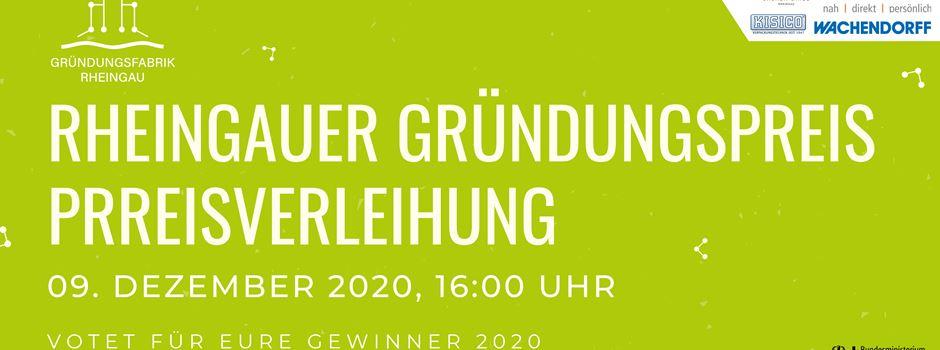 Bestimmt Eure Gewinner des Rheingauer Gründungspreises 2020