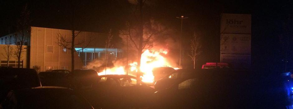 Sieben Autos bei Brand beschädigt