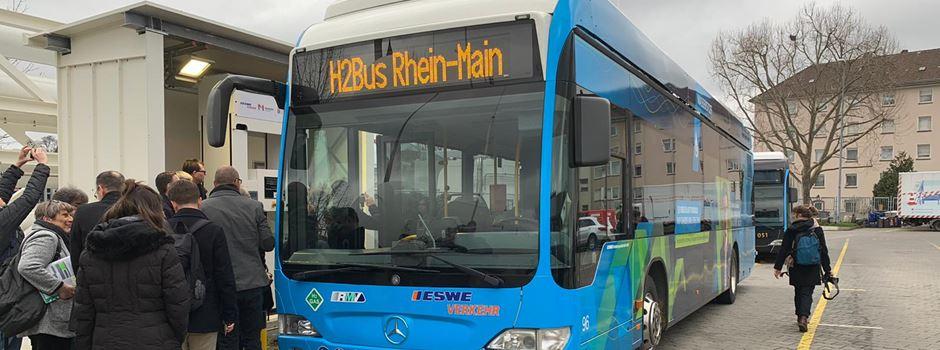 Eine ganze Tankstelle für zwei Busse in zwei Städten