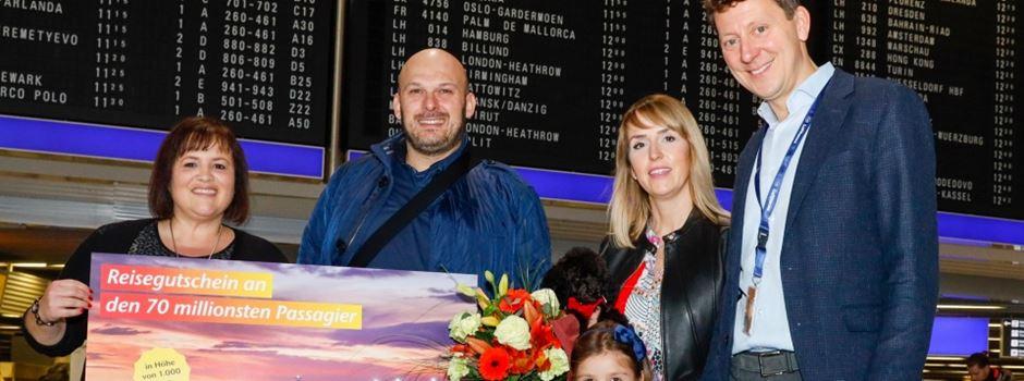 70-millionster Fluggast am Frankfurter Flughafen