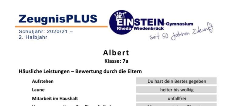 """Zeugnis plus – Eltern und Lehrer überraschen Einstein-Schüler mit """"Corona-Zeugnis"""""""
