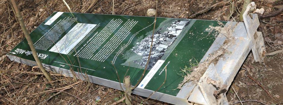 Vandalismus am Fischereilehrpfad