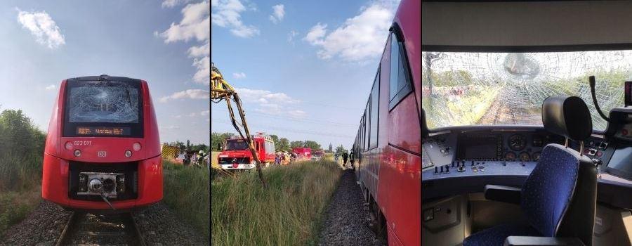 Regionalbahn stößt mit Traktor zusammen