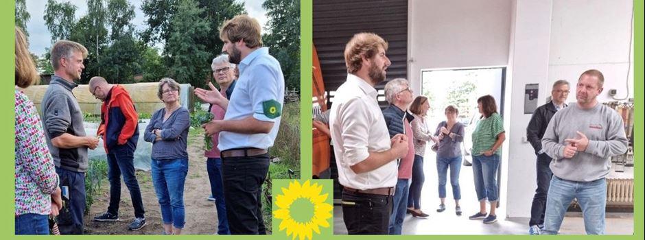 Sebastian Stölting, Direktkandidat der Grünen, besucht Fa. Vielstädte und Biohof Hanhart