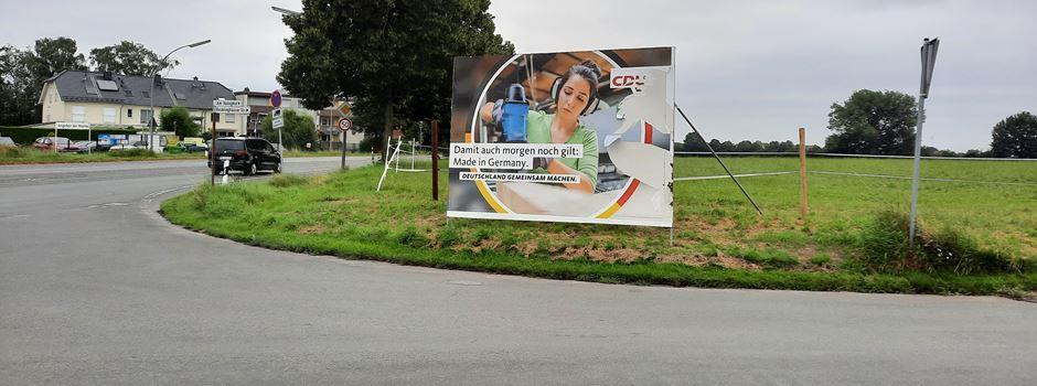 Das CDU-Wahlplakat muss weg, sagt die Stadt: Wo sie stehen dürfen und wo nicht
